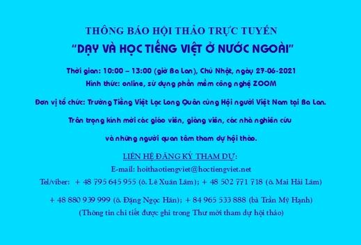 """Thư mời tham gia hội thảo trực tuyến: """"Dạy và học tiếng Việt ở nước ngoài"""""""