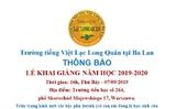 Thông báo Lễ Khai giảng năm học 2019 - 2020 của trường Tiếng Việt Lạc Long Quân tại Ba Lan