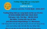 Thông báo Lễ khai giảng năm học 2018 - 2019 của Trường Tiếng Việt Lạc Long Quân tại Ba Lan